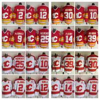 Vintage CCM Calgary Flames Al MacInnis Lanny McDonald Mike Vernon Theoren Fleury Jersey Gary Roberts Jarome Iginla genähtes Hockey-Trikots