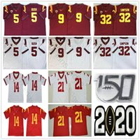 NCAA 150th USC 트로이 목마 # 5 Reggie Bush 9 Kedon Slovis 21 Jackson 14 Sam Darnold 32 OJ Simpson 43 Troy Polamalu College Football Jerseys