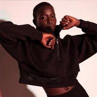 هوديس المرأة مصمم البلوز مع زيبر اللون الأسود حامل الياقة المرأة هوديس أزياء شبكة المرقعة كم طويل المحاصيل