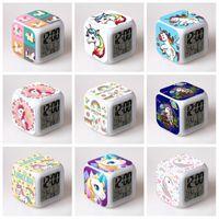 Coloré Unicorn Horloges LED Horloge Alarme Horloge Changer de couleur carrée Hommes Femmes Coffret Cadeau Décoration Fashion Style 11 5yy H1