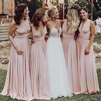 Dusty Rosa Cabrio Brautjungfern Kleider Multi Wege Mid of Honor Gowns für Hochzeitsfestes langes formelles Kleid nach Maß