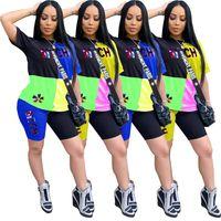 النساء رياضية العلامة التجارية مصمم الربط تي شيرت تي شيرت بلايز + شورت مجموعات 2 قطعة مباراة وتتسابق لون ملابس رياضية ملابس فاخرة D52812 الساخنة