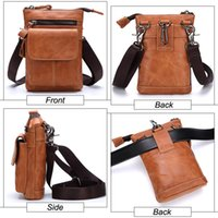 Genuine Leather Waist Hip Bags Packs - Multifunction Mens Fa...
