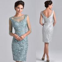 Bainha de renda Curto Mãe dos Vestidos de Noiva 2019 New Custom Beads Tulle Sheer Na Altura Do Joelho Mulheres Desgaste do Vestido Do Convidado Do Casamento À Noite M053