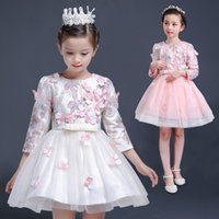The new 3 d flower color embroidery flower girls princess dr...
