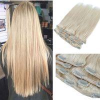 Bleach Sarışın Klipler boyanabilme Saçlı Saç Uzantıları Kalın sonu 100gram Virgin Saç Atkı içinde Düz Klip