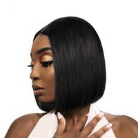 Kısa Dantel Ön İnsan Saç Peruk İçin Siyah Kadın Brezilyalı Düz Remy 4X4 Dantel Kapatma Bob Dantel Peruk koparıp önceden bebeğin saçı