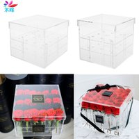 New Fashion Clear Acrylic Rose Flower Box Makeup Organizer C...
