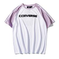144dfc665 19SS VLONE PALM ANGELS T-shirt Miami POP Limite Grande Logotipo V Conjunto  Tee Manga