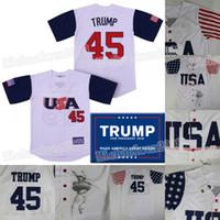 45 Дональд Трамп США США Бейсбол Джерси Памятная издание Maga Mak American Exper снова Бейсбол майки 100% сшиты