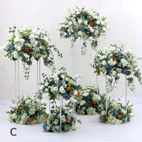 Wedding party rectangle iron centerpieces floral stand stage...