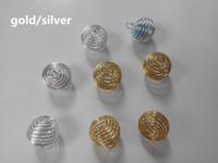 Commercio all'ingrosso 500pcs placcato argento / oro lanterna primavera a spirale perline ciondoli pendenti per ragazza fai da te collana creazione di gioielli accessori