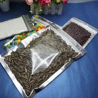 Wholesale 100pcs x 10 * 17.5cm正面透明アルミニウムめっき塩パッキングバッグ、グリップジッパーロックシルバーアルミホイルポーチ