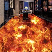 Carta da parati personalizzata Foto 3D stereoscopico fiamma ardente Soggiorno Camera da letto Piano murale impermeabile autoadesivo Papel De Parede 3D
