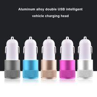 Универсальное автомобильное зарядное устройство 2.1A + 1A Dual USB-порты Автомобильные зарядные устройства из металлического сплава для Iphone Samsung HTC Android Phone PC MP3