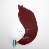 Vmae% 100 işlenmemiş 120g Piyano Renk # 35 99j Saç Çift olarak Teyp Çizilen İpek Düz Doğal Virgin Remy İnsan Saç Uzantıları
