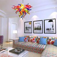 Современные светодиодные люстры причудливые арт подвесные светильники цветные блеск 16 дюймов маленький многоцветный ручной вручную стеклянные люстры освещение для спальни детские огни комнаты