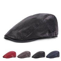 Vera Pelle inverno caldo degli uomini paraorecchie Army Beret berretto a visiera dello strillone Cappelli / Berretti