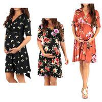 Schwangerschaft Kleider Stillzeit Mutterschaft Tops Sommer Plus Size Floral Kleider Frauen Mutterschaft Schwangere Hülse T-Shirt Pyjamas Tees XL YF008