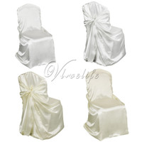 100Pcs Lot Universal Self Tie Satin Chair Cover Wedding Part...