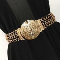 2019 Women Flower Waist Belts Fashion Ladies Floral Elastic Wide Gold Metal Belt For Dress Female Golden Chain Belt Girls