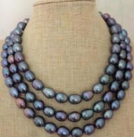 Spedizione gratuita nobile d'acqua dolce, bei gioielli 11-13mm barocco verde pavone collana di perle 48 pollici 14k