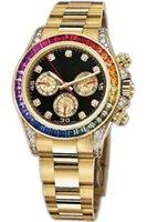 Meistverkauften hochwertiger Luxus volles Quadrat Farbe Diamant-Gold Gold stieg white116595 116598 116599 RBOW Herren-Edelstahluhr