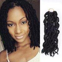 Boho Goddess Locs 합성 스트레이트 1B 버그 12 인치 가짜 locs 18 크로 셰 뜨개질 머리 유럽 미국 블랙 짠 머리카락