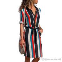 긴 소매 셔츠 드레스 여름 시폰 보호 비치 드레스 여성 캐주얼 줄무늬 프린트 라인 미니 파티 드레스 Vestidos