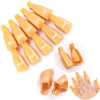 YENI 10 adet / takım Plastik Jel Oje Sökücü Kapalı Islatın Kap Klip UV Jel Lehçe Wrap Aracı Sıvı Vernik Çıkarılması Için