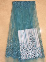 Newest African Tulle Lace Fabrics With Sequin Embroidery Net...