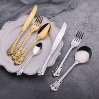 Alto grado retro Cubiertos sistemas de plata de oro de acero inoxidable cubiertos conjunto cuchillo Tenedor cuchara cucharada 4pcs de vajilla Vajilla Sets DBC BH3088