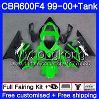 Cuerpo + Tanque para HONDA CBR 600 F4 FS CBR 600F4 CBR600F4 99 00 287HM.37 CBR600FS CBR600 F 4 CBR600 F4 1999 2000 Kit de carenado Verde negro caliente