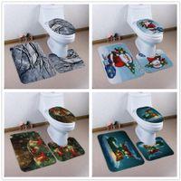 3 шт./компл. Рождественский чехол для сиденья унитаза коврики для ванной нескользящие ковры для ванной комнаты набор туалет душевая комната ковер Pad Xmas Decoration hot GGA2798