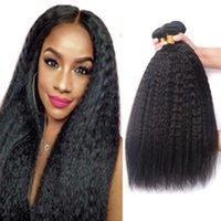 3 PC brasileña de Malasia recto rizado paquetes de pelo extensión del pelo humano de Yaki Remy de la armadura de 10-26 pulgadas de grueso Yaki Bundle Virgen tramas del pelo