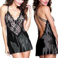 Sexy Sleepwear Sleepwear Porno Plus Taille Lingerie Tache Soie Soie Dress Dress Babydoll Femmes Sexe Ceinture Sous-vêtements Noir Bleu Blanc Rouge S-XXL