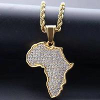 dégelée à colliers pendentif carte Afrique pour les hommes des hommes de créateurs de luxe bling diamant africain carte pendentifs Collier chaîne en or amour bijoux cadeau