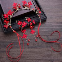 Women Chinese Style Red Color Hair Jewelry Set Bridal Weddin...