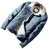 Chaquetas de hombre Clearance Men Light Blue Winter Jean Outerwear Warm Denim Abrigos Gran tamaño grande Descuento