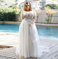 섹시한 V 넥 플러스 사이즈 웨딩 드레스 레이스 캡 덮여 소매 Vestidos de Novia 라인 얇은 명주 그물 웨딩 신부 공식 가운