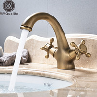 Free Shipping Dual Handle Basin Faucet Single Hole Deck Moun...