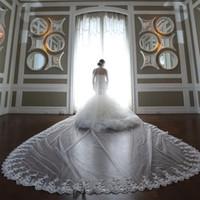 2020 paillettes personnalisées voiles de mariée Appliques de lacets de dentelle un calque blooton voile voiles long tulle voiles de mariage