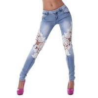 Jeans pour femmes Denim Pants Women Lace Stitching Jeans skinny Pencil Pants Denim Pants