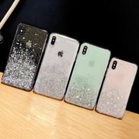 빛나는 반짝이 블링 장식 조각 케이스 아이폰 8 7 플러스 6 6 초 에폭시 스타 투명 케이스 아이폰 X XR XS MAX 10 부드러운 TPU 커버