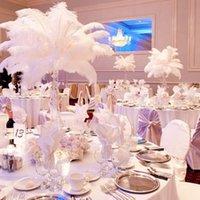 كبيرة الحجم الأبيض النعام ريشة بلوم الحرفية لوازم حفل زفاف الجدول المركزية الديكور 50 قطعة / الوحدة