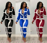 Sıcak Kadınlar Sonbahar Ve Kış Uzun Kollu Çizgili Baskılı Yaka Hırka Tişörtlü Uzun Pantolon kemeri 2 Adet Kıyafetler tulum Set