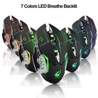 Beruf Gaming Maus Silent Beleuchtet Mechanical 1800DPI 2.4G USB Wireless 7 Farbe Maus-Dropship für PC Laptop