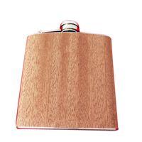 Logotyp skräddarsy mini pocket rostfritt stål höftkolv träkorn färg läckagesäker utomhuslutflaska