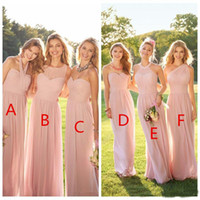 2019 Elegant Cheap Pink Pleated Long Lace Chiffon Bridesmaid...