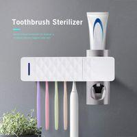 UV Toothbrush Sanitizer Titular USB recarregável Creme dental Dispenser com Esterilização Função, 5 Escova Esterilizador Titular da Família